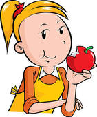 Apple clipart boy with  eating clipart Girl apple