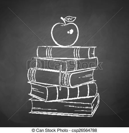 Drawn bobook Apple on Vector Chalkboard on