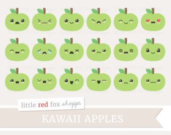 Apple clipart cute green Clip Kawaii Happy Icon Apple