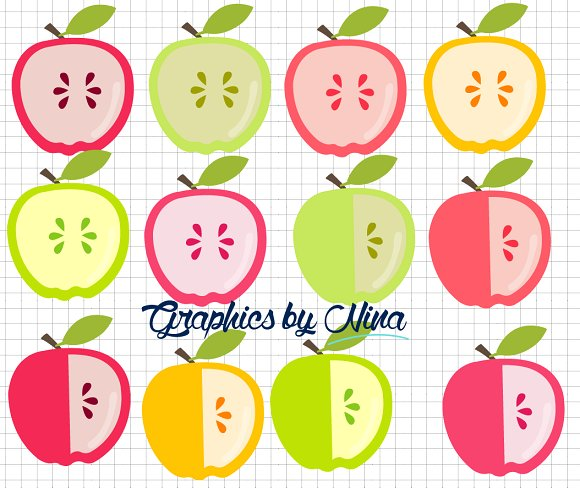 Apple clipart cute green Cute Cute  Apple Illustrations