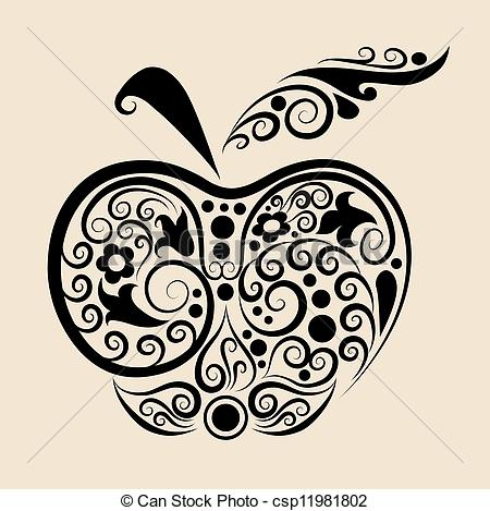 Apple clipart decorative Apple csp11981802 Decorative vector of