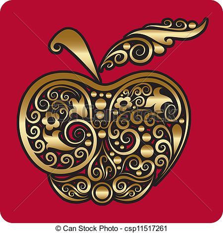 Apple clipart decorative  apple csp11517261 Golden apple