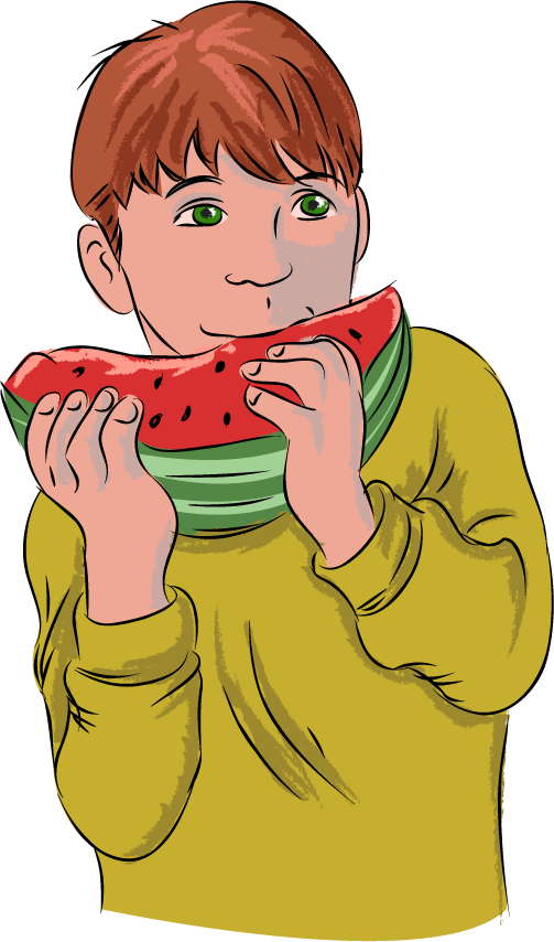 Watermelon clipart eaten Eating people art Watermelon boy