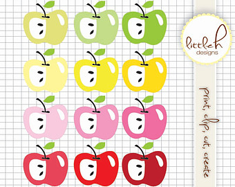 Apple clipart pastel / 12 and Clipart EPS