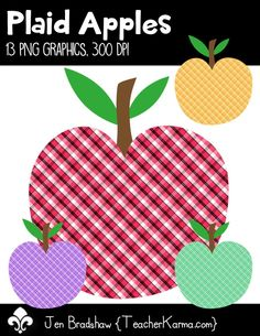 Apple clipart plaid Squirrels educational BOHO Perfect Apples