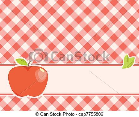 Apple clipart plaid  Vector background Clip a