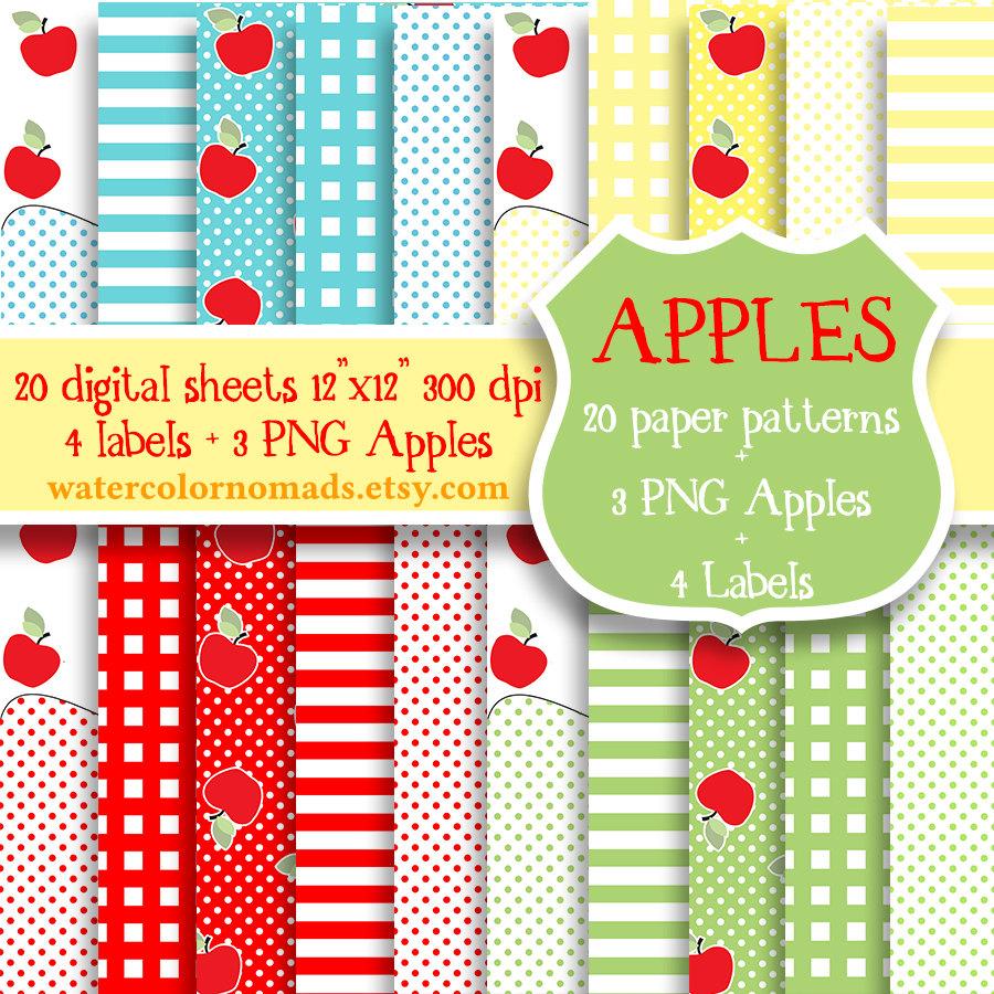 Apple clipart plaid Scrapbooking red Apple pattern digital