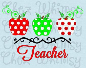 Apple clipart polka dot Teachers Apples School Teacher Svg