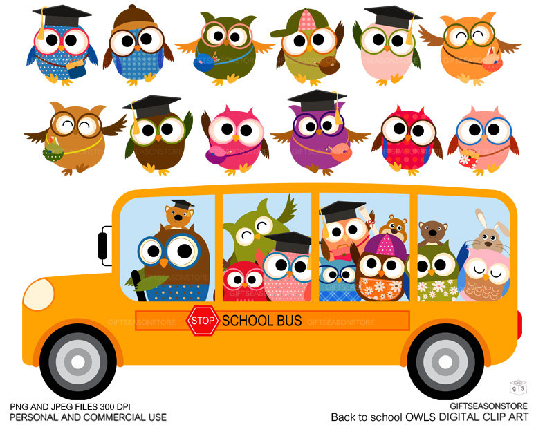 Apple clipart school bus Etsy art DOWNLOAD use for