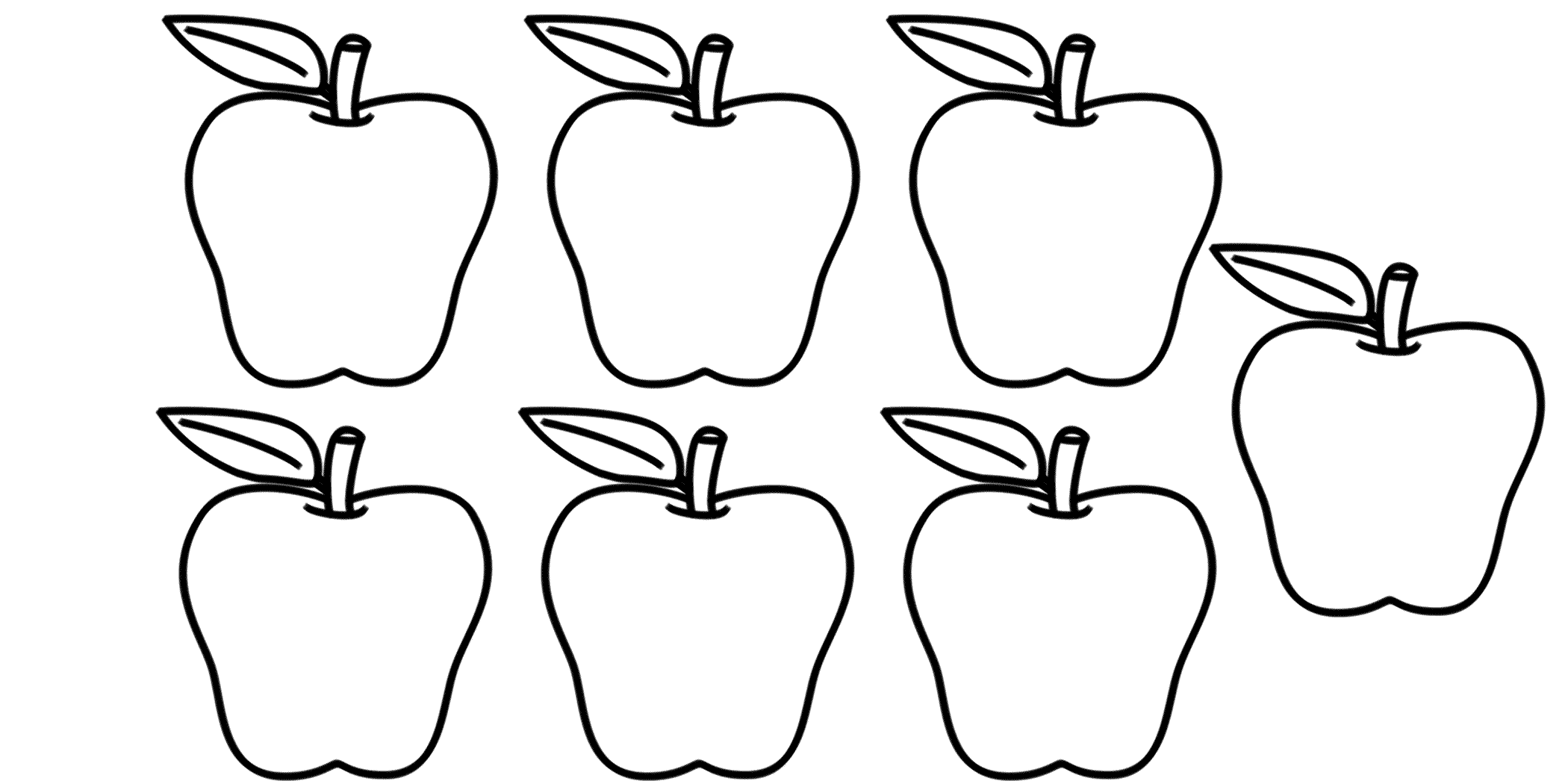 Apple clipart seven Worksheet  Printing 7 Number