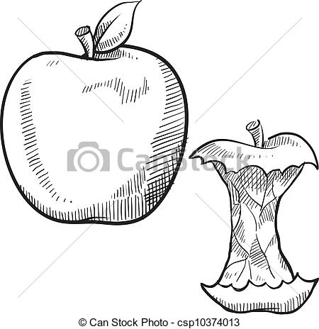 Apple clipart sketch Style Doodle core and apple