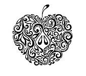 Apple clipart decorative Floral Free white with black