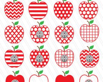 Apple clipart decorative SVG clipart Apple Monogram Fruit