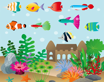 Aquarium clipart Etsy Aquarium set graphic illustration