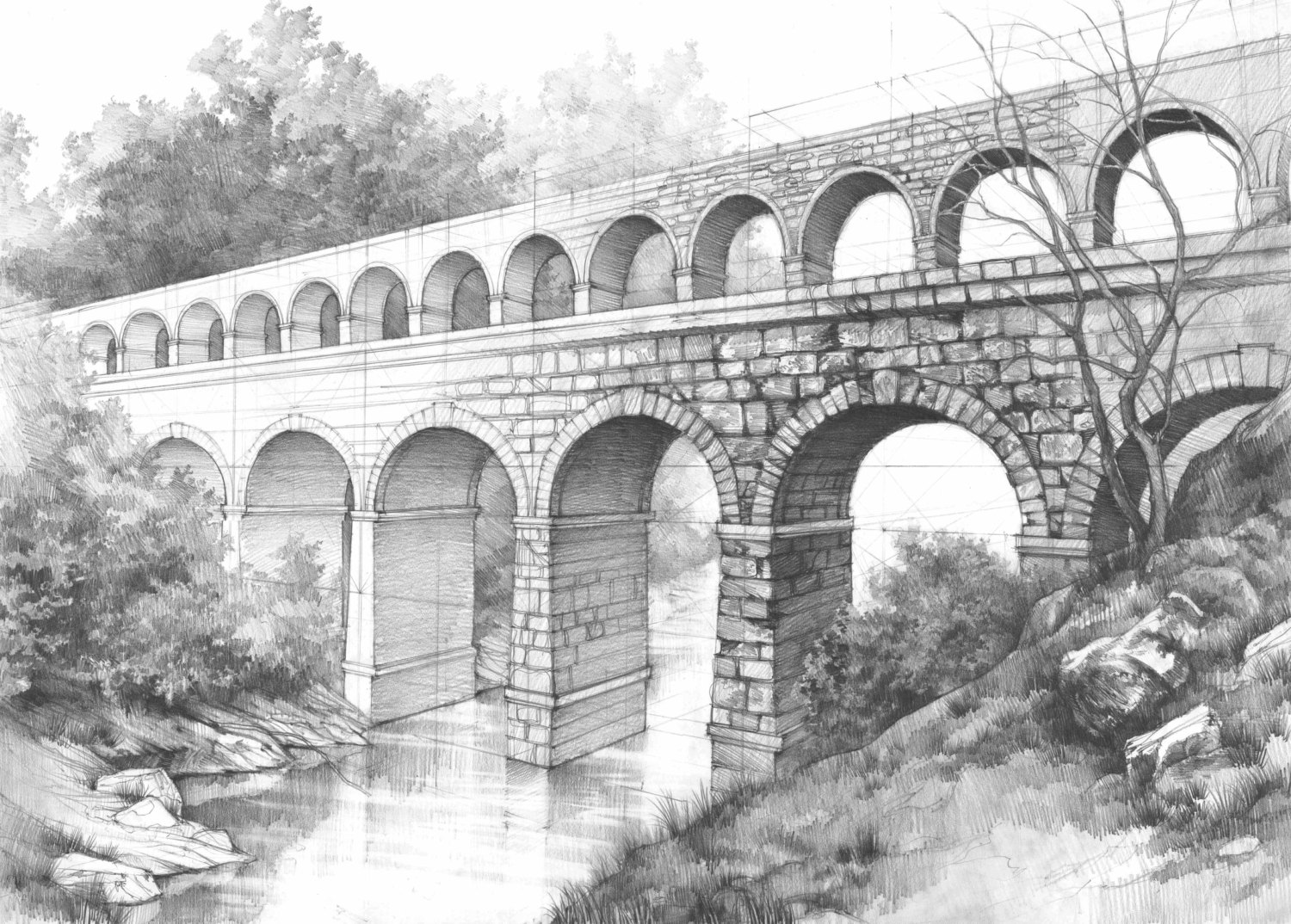 Drawn bridge double leaf Aqueduct pencil Kmiecik drawing bridge