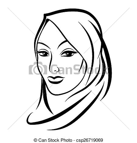 Arab clipart black and white Clip and Beautiful arab woman