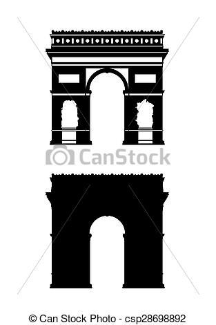 Arch clipart triumph Paris  Illustration set silhouettes