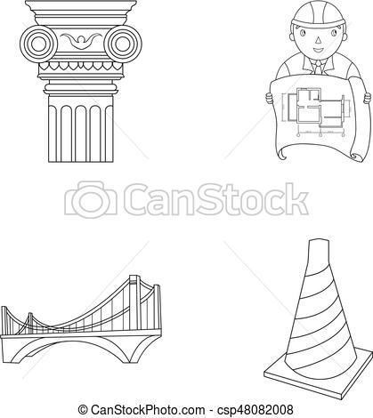Architecture clipart column style Column icons bridge drawing of
