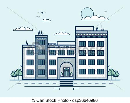 Architecture clipart modern architecture  in Vector police station