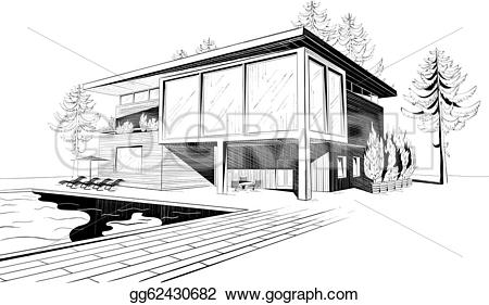 Architecture clipart modern house Of Art Stock Vector pool