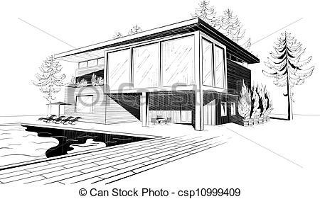 Architecture clipart modern house Modern house  Black white