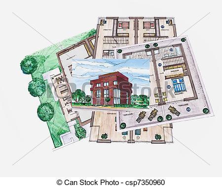Architecture clipart plan Building csp7350960 Illustration building Architecture