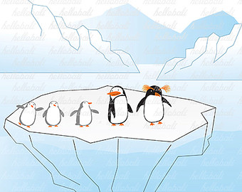 Penguin clipart iceberg clipart Iceberg Penguins Penguin Etsy clipart