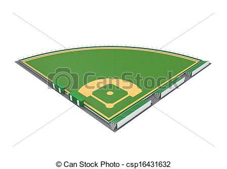 Baseball Field render white 3D