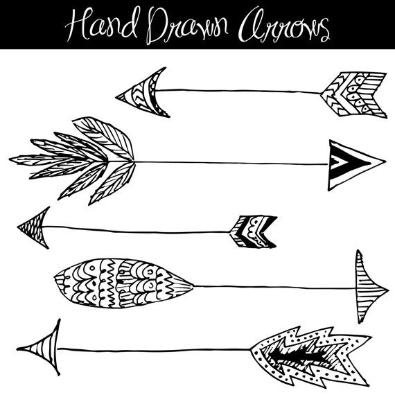 Drawn arrow double Feathered Cliparts Clip Indian