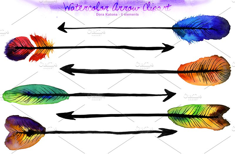 Arrow clipart watercolor #12
