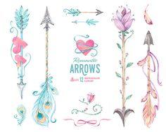 Arrow clipart watercolor #10