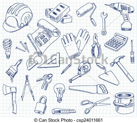 Artistic clipart drawing material Building  drawing materials on