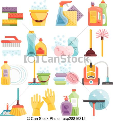 Artistic clipart drawing material Cleaning supplies icons Household Clip