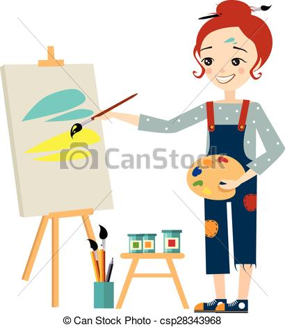Artistic clipart person painting On Canvas Beautiful on csp28343968