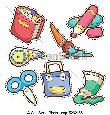 Artwork clipart school item Set school of items school