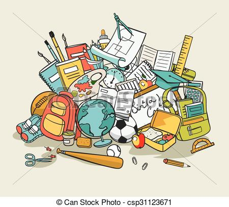 Artwork clipart school item In  pile items school