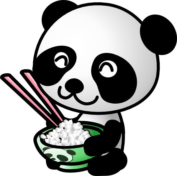 Restaurant clipart black and white Rice Food Clipart Panda Eating