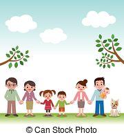 Asian clipart happy family Happy Holding Happy member four