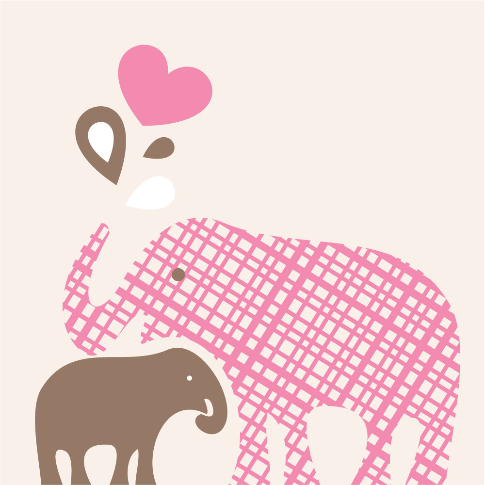 Brown clipart baby elephant Brown & Pink Art Baby