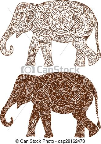 Asian Elephant clipart line art Illustration a elephant Vectors of
