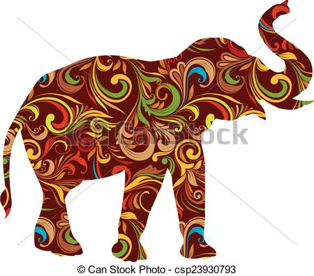 Asian Elephant clipart ornamental Csp23930793 Red of Red EPS