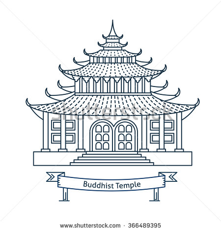 Asians clipart buddhist temple House Buddhism symbol Flat monastery