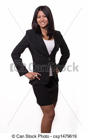 Asians clipart businesswoman Woman Stock hair  Attractive