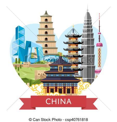 Asian clipart chinese building Clip with travel  asian