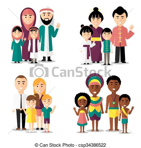 Asians clipart family member Asian families icons european Vector