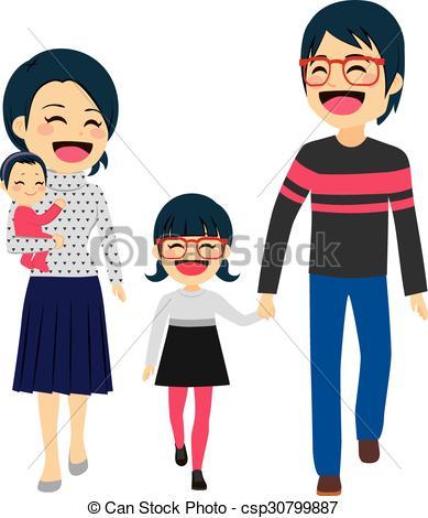 Asian clipart happy family Family Asian Asian four happy