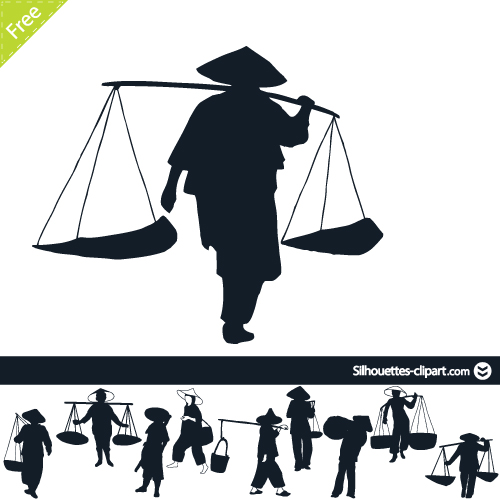Asians clipart silhouette Silhouette peasants  Silhouettes Chinese