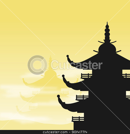 Asians clipart silhouette Asian Pagoda at Pagoda vector
