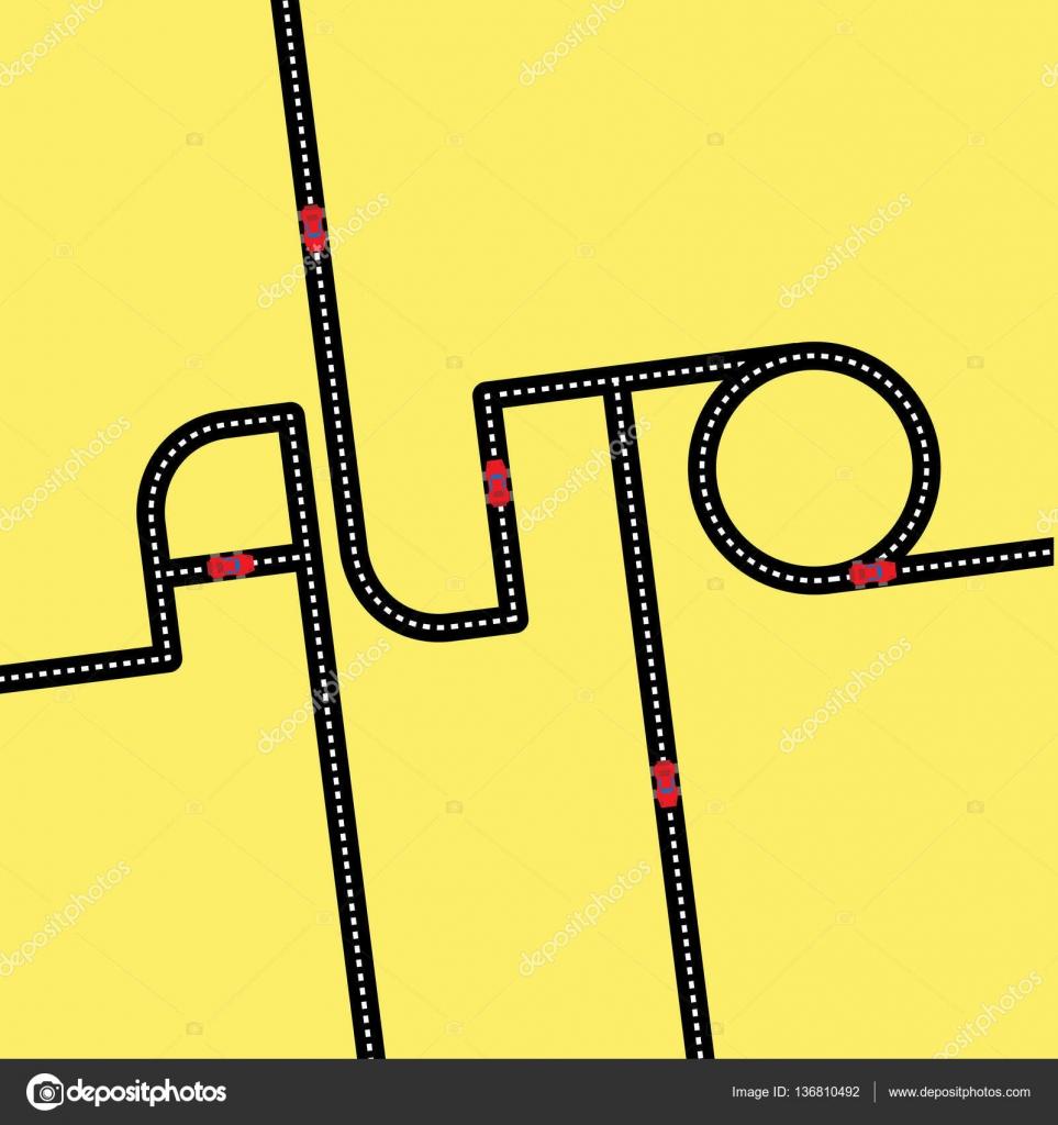 Asphalt clipart car road Center 'Auto' road in Logo