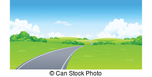 Asphalt clipart curved road Curved landscape hill;  Illustration